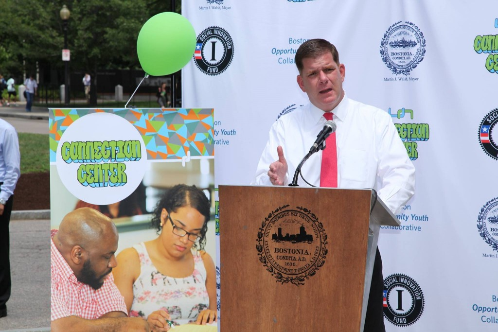 Mayor Martin J. Walsh speaks at the launch of the Connection Center.